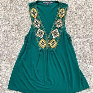 Brixton Ivy Green Jade V Neck Embellished Blouse